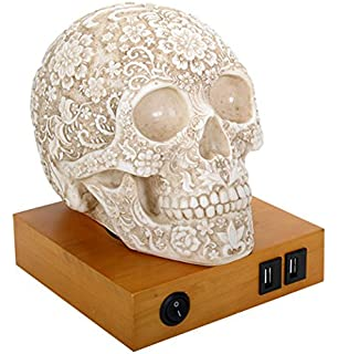Kirin 1 piece of vintage retro stye glass skull ceiling pendant day of the dead floral skull lamp table lamp figurine with 2 usb charging ports aloadofball Image collections