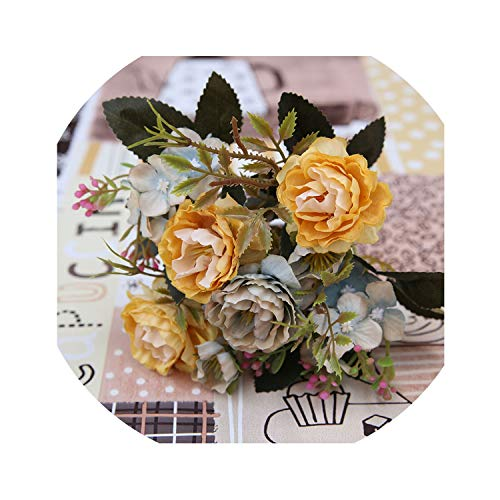 winkstores Decoration Vintage Silk Artificial Flowers Small Rose Wedding Fake Flowers Festival Supplies Home Decor Bouquet,Yellow