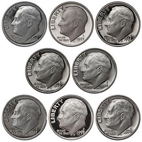Deep Cameo Proof Roosevelt Dime - 1992-1999 S Roosevelt Dimes 90% Silver Gem Deep Cameo Proof Run 8 Coin Set