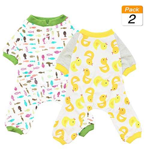 Pet Pajama Puppy Dog - Scheppend 2-Pack Pet Clothes Puppy Cute Pajamas Dogs Cotton Rompers Cats Jumpsuits Cosy Apparel Dog Shirt Small Canine Costumes, Duck & Fish XS
