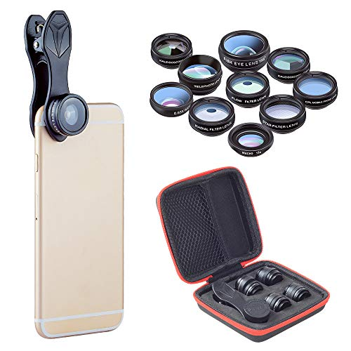 (Mobile Phone Lens, 10-in-1 Mobile Phone Camera Lens kit, Clip-on Mobile Phone Lens, Suitable for Most Smartphones of Samsung, Tablet and Android, Suitable for Travel)