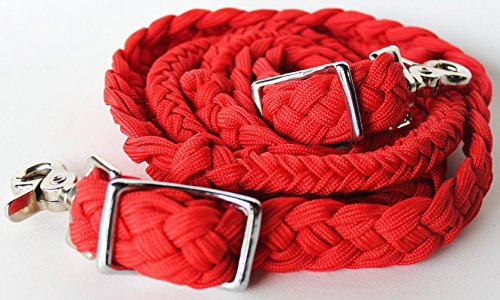 Tack Reins (ProRider Roping Knotted Horse Tack Western Barrel Reins Nylon Braided Red Orange 60723)