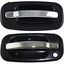 Pair Set Front Outside Door Handles Black Bezel w/ Chrome Levers Replacement for Cadillac GMC Chevy Pickup Truck SUV 15745149 15182419