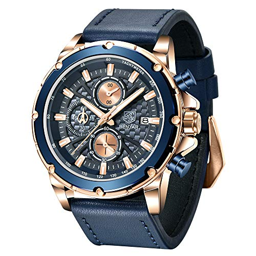 BENYAR Wrist Watches for Men Quartz Movement Leather Strap Analog Chronograph Fashion Business Sport Design Mens Watch 30M Waterproof Stylish Elegant Gifts for Men