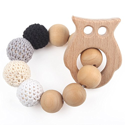 Baby Teething Ring Beech Wood Original Sensory Bracelet Make Baby Laugh White Teether Bitey Toys, Owl, Neutral Gift