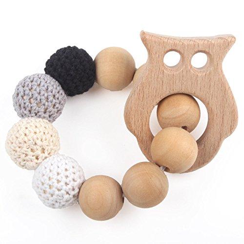 Baby Teething Ring Beech Wood Original Sensory Bracelet Make Baby Laugh White Teether Bitey Toys, Owl, Neutral Gift