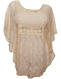 eVogues Women's Sheer Crochet Lace Poncho Top Made in USA