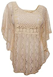 eVogues Plus Size Sheer Crochet Lace Poncho Top Ivory - 3X