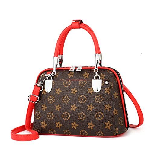 Maod bolsos de mujer Vintage PU Cuero Bolsa de Hombro Ocio Carteras de Mano Bandoleras de Impresión Bolsa de Concha Rojo