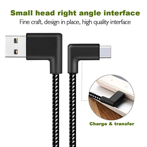 Mchoice Right Angle USB-C Type C Data&Sync Faster Charger Cable for Samsung Galaxy S8 (0.2M) (Angle Panels Right)