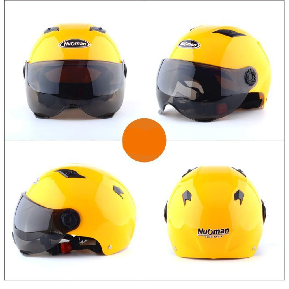 HSKS Casco de Moto Amarillo Hombres y Mujeres Cuatro Estaciones Anti-vaho Doble Espejo Medio Casco Verano c/álido y Cobertura Total Seguridad