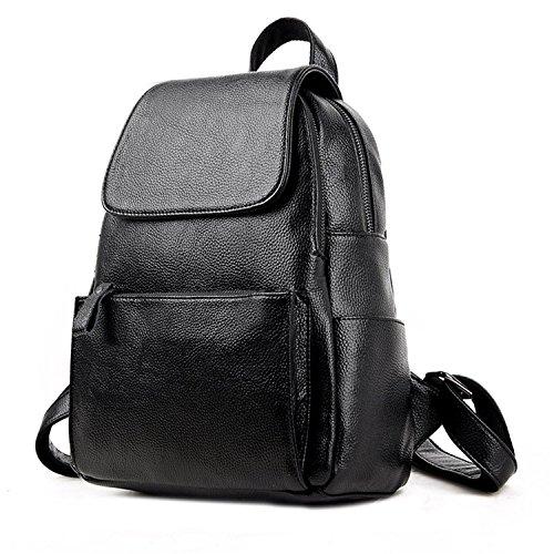 Price comparison product image Bikifree Fashion Women Soft Genuine Leather Ladies shoulder bags backpacks for teenage girls Preppy Style Travel School Bag BlackL28cm W15cm H35cm