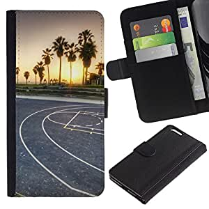 NEECELL GIFT forCITY // Billetera de cuero Caso Cubierta de protección Carcasa / Leather Wallet Case for Apple Iphone 6 PLUS 5.5 // LA Miami Street Basketball