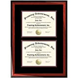 double matted double diploma frame premium wood satin rich mahogany top mat black inner mat maroon dual certificate