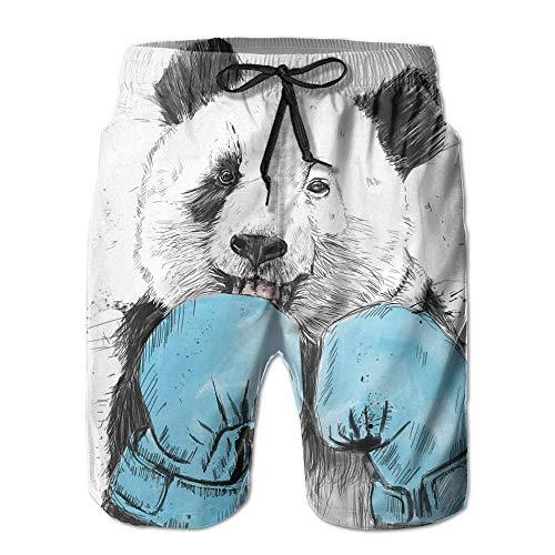 Mens Minimalist Panda Pattern Shorts Elastic Waist Pockets Lightweight Beach Shorts Boardshort