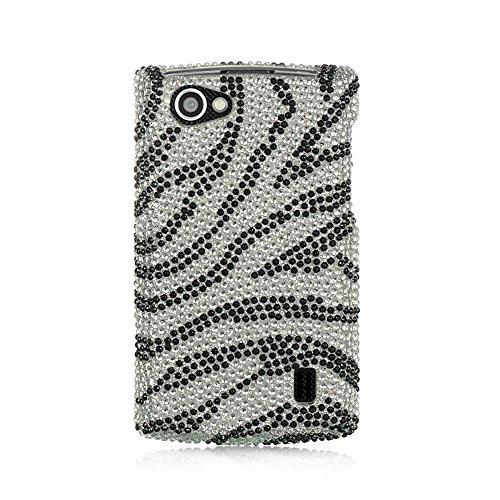 LG Optimus M+ Case, Dreamwireless Zebra Rhinestone Diamond Bling Hard Snap-in Case Cover for LG Optimus M+ MS695, Silver/Black
