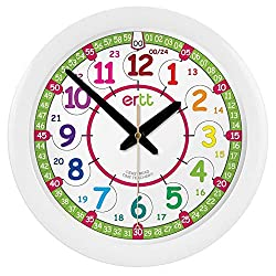 EasyRead Time Teacher Children's Wall Clock ERTT-DIG, 12 & 24 Hour Time, Rainbow Clock Face