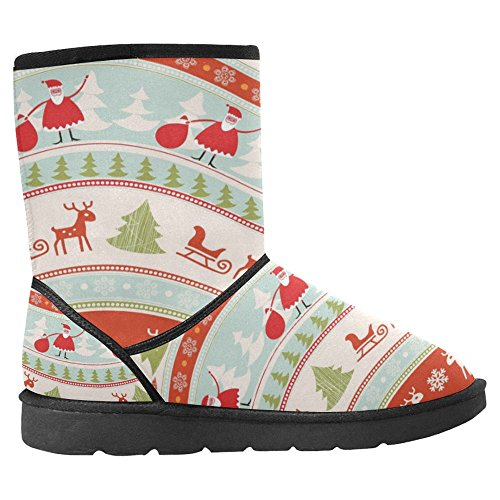 Botas De Nieve Para Mujeres Interestprint Diseño Único Comfort Botas De Invierno Vintage Christmas Background Multi 1