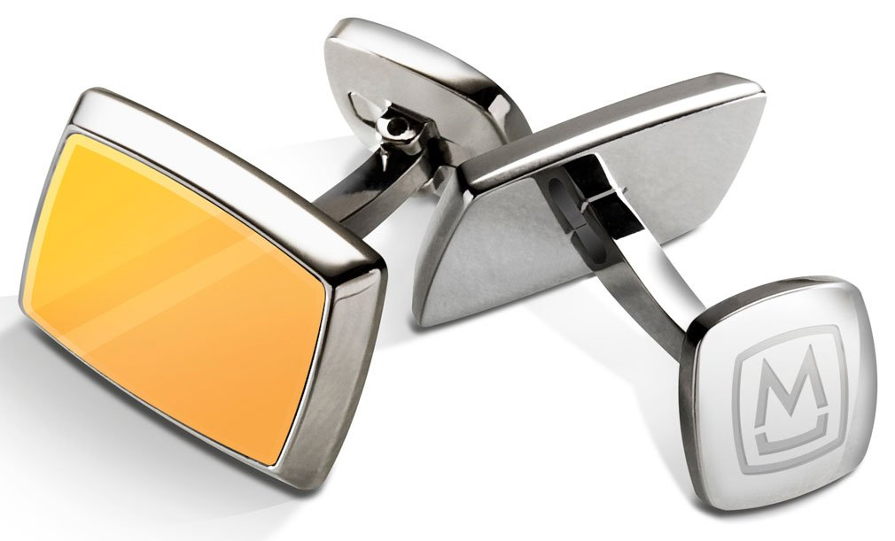 M-Clip Tapered Rectangle Designer Cufflinks, Yellow Gold Inlay