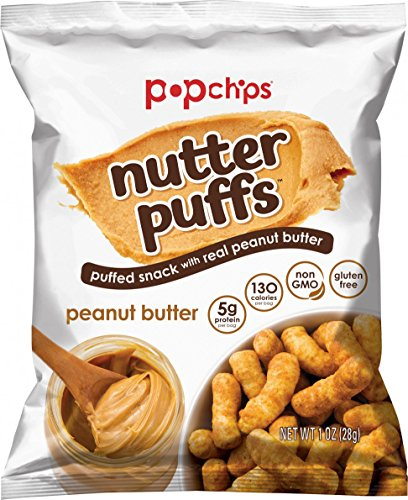 Popchips Nutter Puffs Peanut Butter Single Serve 1 oz Bags (Pack of 24)