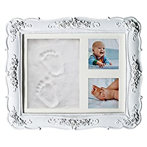 Baby Handprint Footprint Clay DIY Kit I Gift for Newborn Girl Boy Pets I Shower Registry Gift for New Mom Dad Parents I Nursery Wall Maternity Inkless Keepsake Picture Frame Decoration