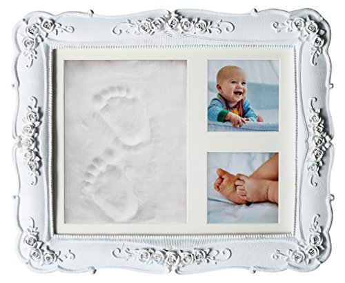 Baby Handprint Footprint Clay DIY Kit I Gift for Newborn Girl Boy I Shower Registry Gift for New Mom Dad Parents or Nursery Wall Maternity Keepsake Picture Frame