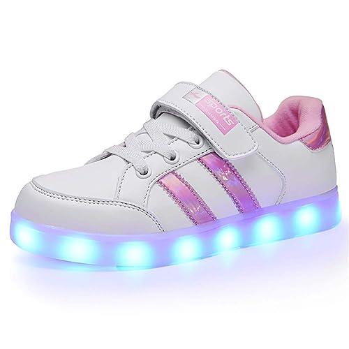 Lovelysi Unisex Zapatos Zapatillas de LED 7 Colors USB Carga Luz Luminosas Flash Deporte para Deportivas para Navidad Fiesta de Regalo Niños Niñas: ...