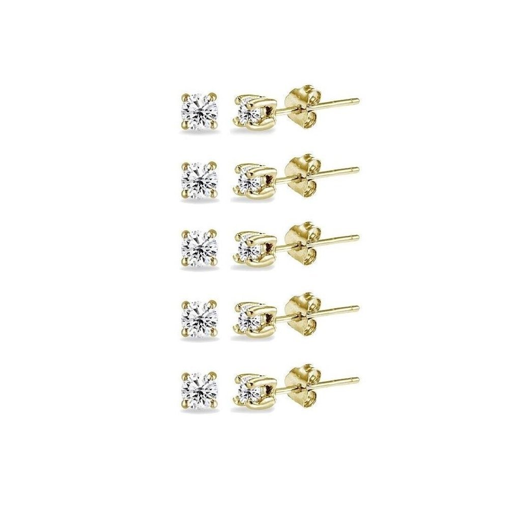 Yellow Gold Flashed Sterling Silver Cubic Zirconia Set Of 5 Round 2MM Stud Earrings