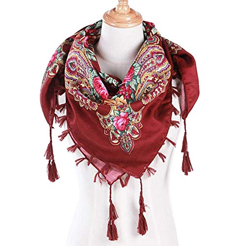 iYBUIA Cotton Fashion Women Winter Autumn Floral Scarf Printed Tassel Shawl Scarf