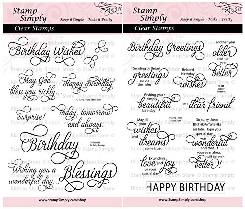 - Stamp Simply Clear Stamps Happy Birthday Sentiments and Blessings Christian Religious (2-Pack) 4x6 Inch Sheet - 20 Pieces