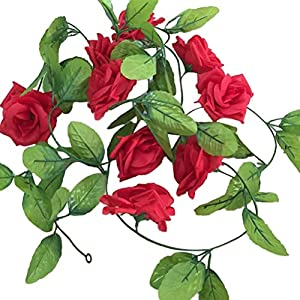 VORCOOL Fake Rose Vine Floral Garland Artificial Flowers for Hotel Wedding Home Party Garden Decor (Rosy) 2