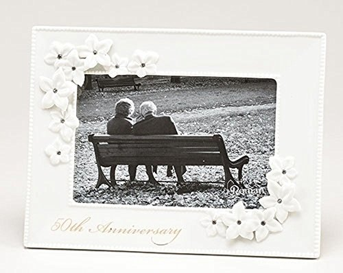 50th Anniversary White Porcelain Jeweled Decorative Flowers 4x6 Picture Frame