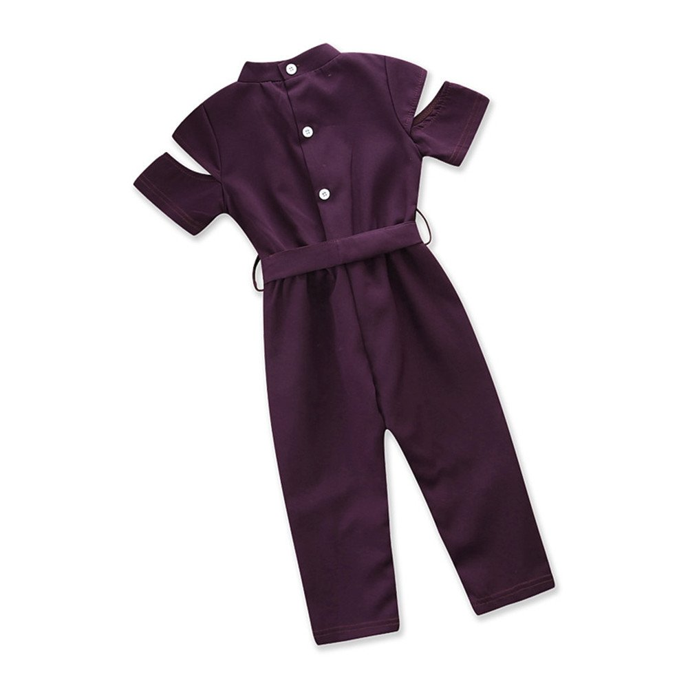 Kids Baby Girl Ultra Silky Broken Hole Jumpsuit, Fashion Beautiful Bowknot Waist Belt Playsuit Outfits (Label Size:100, Purple)