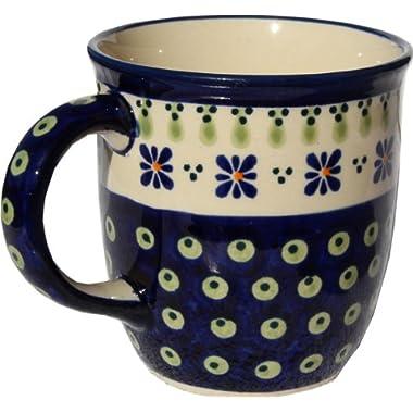 Polish Pottery Mug 12 Oz. From Zaklady Ceramiczne Boleslawiec #1105-296a Classic Pattern, Capacity: 12 Oz.