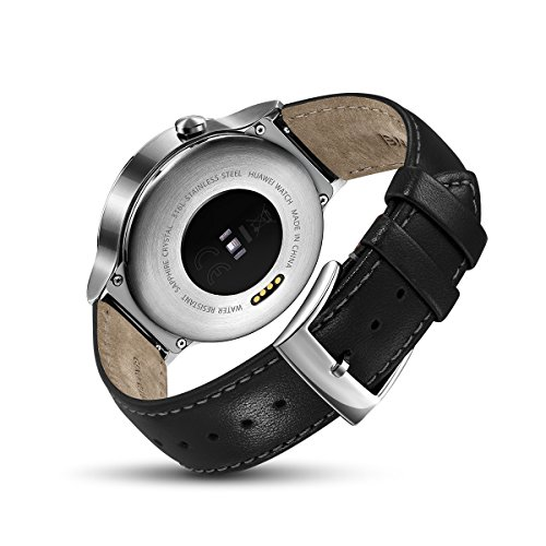 Huawei Watch Stainless Steel with Black Suture Leather Strap (U.S. Warranty)