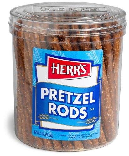 Herr's Pretzel Rods, 28-Ounce Tubs (Pack of 2)