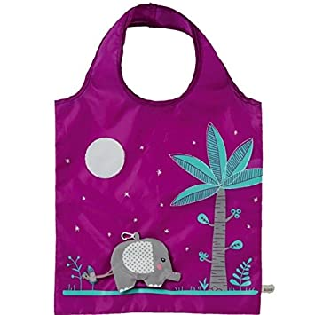 Eco Shopping Bag - Elephant design, Purple bag: Amazon.co.uk ...