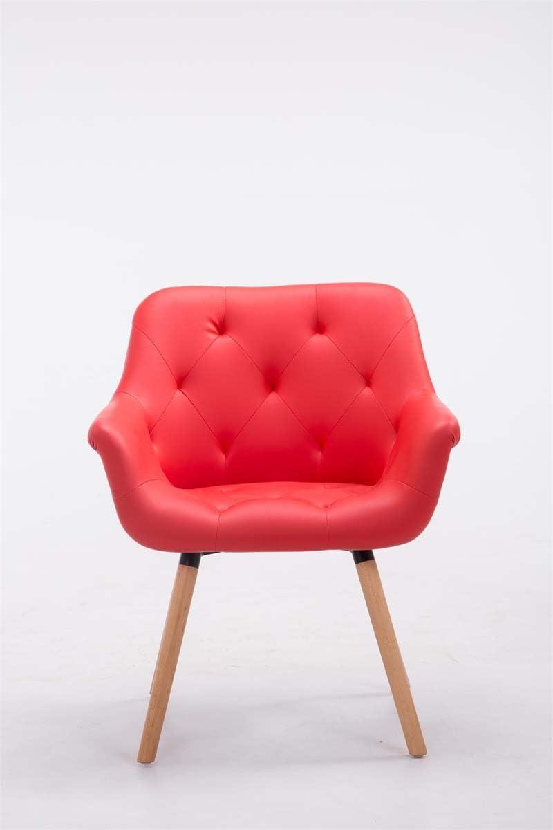 Esszimmerstuhl Cassidy mit Kunstlederbezug und sesselförmigem Sitz I Retrostuhl mit Armlehne, Farbe:rot, Gestell Farbe:Natura