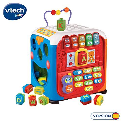 VTech- Alfacubo sorpresas Maxi Cubo de Actividades Que Contiene Engranajes y Bloques de construccion, mas de 30 Canciones, Frases y melodias Que ensenan Formas, Letras, Colores y musica (3480-135422)