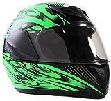 Typhoon Youth Full Face Motorcycle Helmet Kids DOT Street - Gloss Green (Medium)