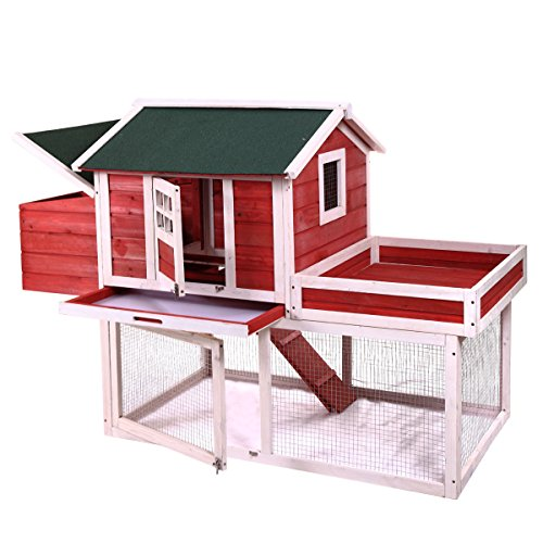 JAXPETY Chicken Coop Rabbit Hutch Wood