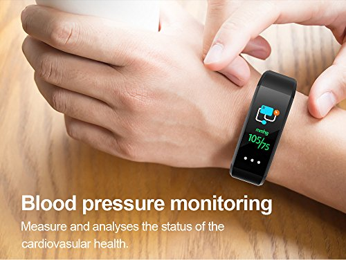 Glumes Bluetooth Smart Watch with heart Blood Pressure Test Heart Rate Monitor Touchscreen Wrist Watch Unlocked Waterproof Smart Watch for Android Samsung IOS Iphone Plus Men Women (Black) by Glumes (Image #2)