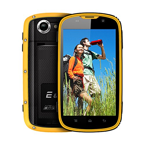 E&L W5S Rugged Unlocked Cell Phones with Wateproof IP68 Dustproof 3G WCDMA Android 6.0 Unlocked Outdoor Smartphones 〖AT&T/T-Mobile 〗 (Yellow)