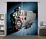 iPrint 2 Panel Set Window Drapes Kitchen Curtains,Poker Tournament Decorations Gambling Chips and Pair Cards Aces Casino Wager Games Hazard Multicolor,for Bedroom Living Room Dorm Kitchen Cafe