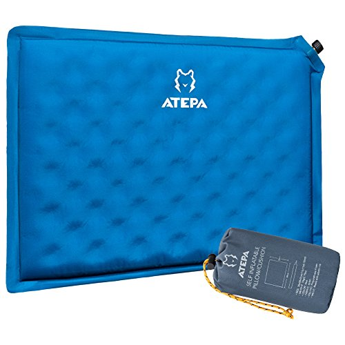 ATEPA Portable Ultralight Compact Self Inflating Outdoor Sports Travel Camping Backpacking Stadium Seat Cushion, Blue