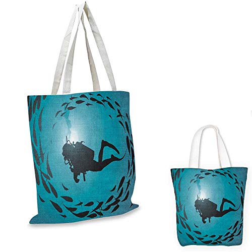 (Under the Sea canvas messenger bag Diver Surrounded with Jamb of Fishes Scuba Snorkel Aqualung Water Sports travel shopping bag Dark Blue Aqua. 16