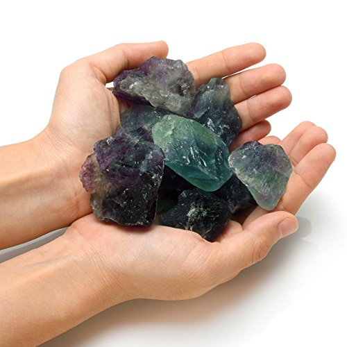 Top Plaza Fluorite Crystals Chakra Healing Natural Raw Rough Stones Bulk for Tumbling,Cabbing,Wicca,Reiki,Energy - 1 (Best Universal Lighting And Decor Fountains)