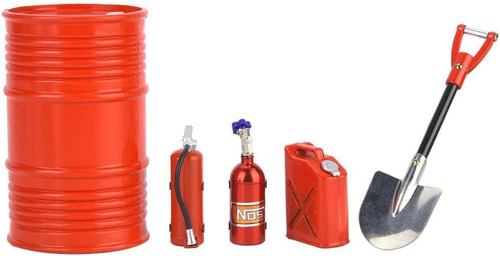 Dilwe RC Crawler Accesorio Simulaci¨®n Incluyendo Pala de Tambor de Aceite Botella de Nitr¨®Geno Extintor de Incendios Tanque de Aceite(Rojo)