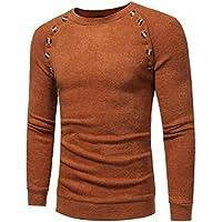 Haoricu Playera de cuello redondo, ajuste ceñido, diseño de retazos, informal, para hombre.