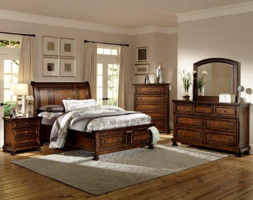 Homelegance Cumberland 5 Piece Queen Storage Platform Bedroom Set - Brown Cherry